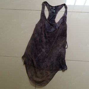 Chiffon Layered Tie Dyed Guess Racer Back Tank Top